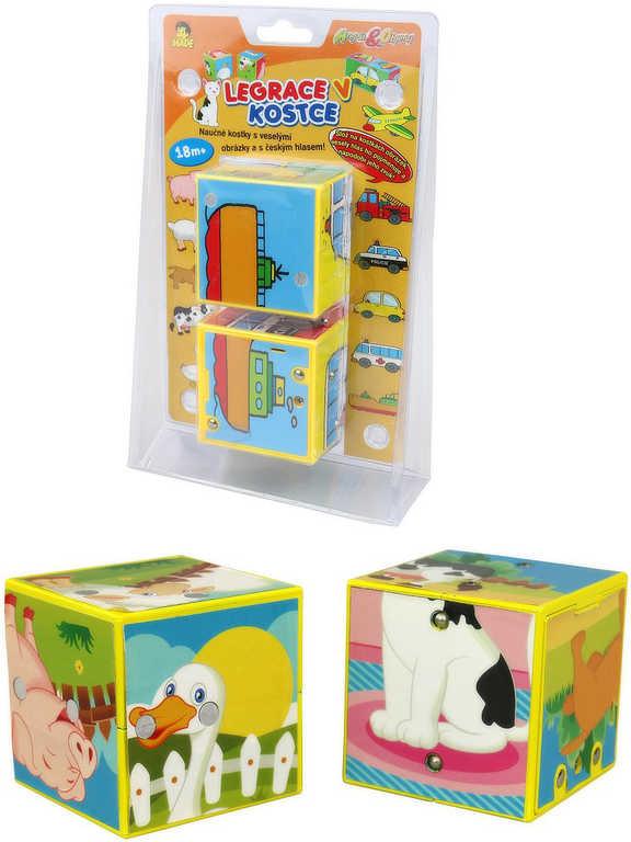 Baby kostky naučné set 2ks zvířátka / dopravní prostředky na baterie Zvuk