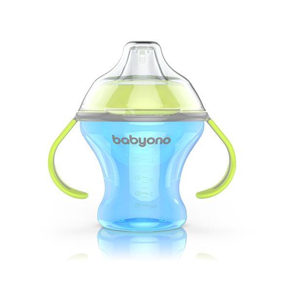 BabyOno Nekapající hrneček s měkkým pítkem - modro/zelený