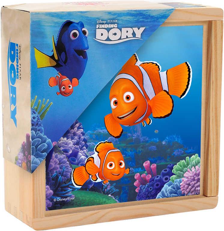 DŘEVO Kostky dřevěné dětské obrázkové set 9ks Hledá se Dory