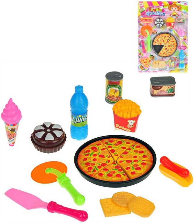 Pizza set makety potravin s nástroji na kartě plast