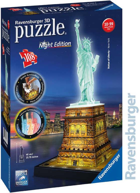 RAVENSBURGER Puzzle 3D Socha svobody Noční edice 108 dílků