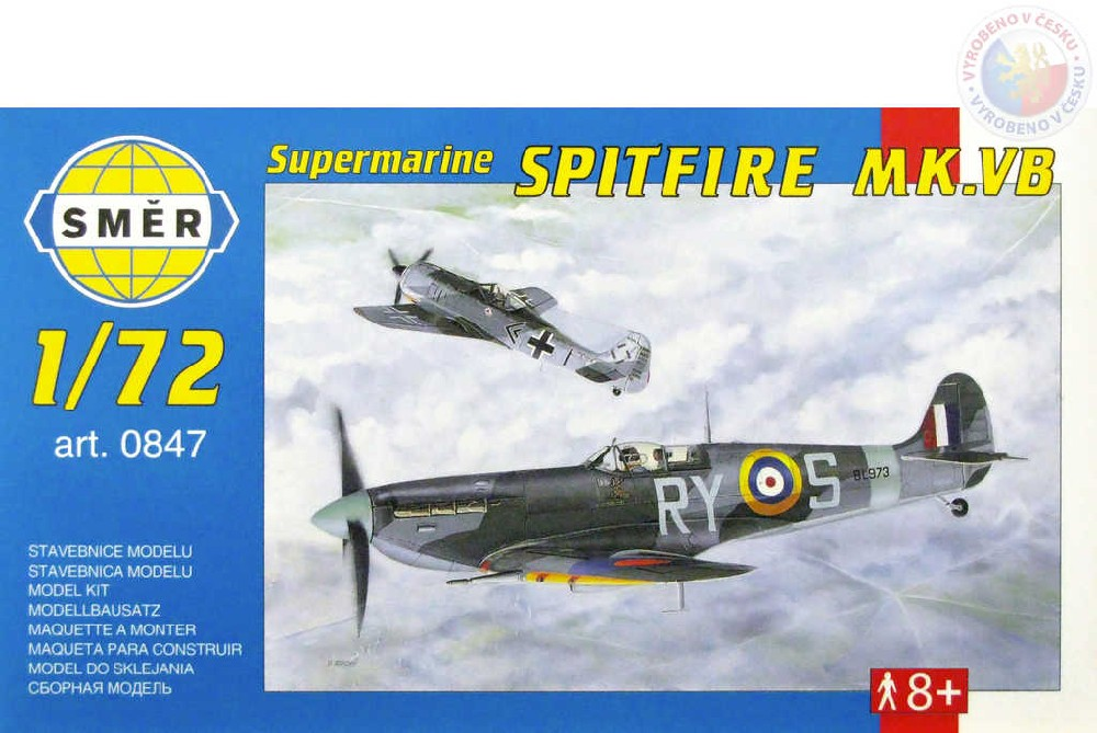 SMĚR Model letadlo Supermarine Spitfire MK. VB 1:72 (stavebnice letadla)