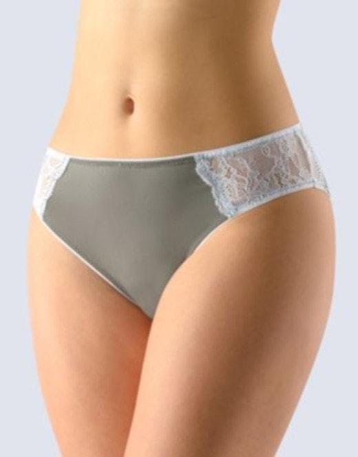 GINA dámské kalhotky klasické s úzkým bokem, šité, s krajkou La Femme 2 10202P - šedá bílá