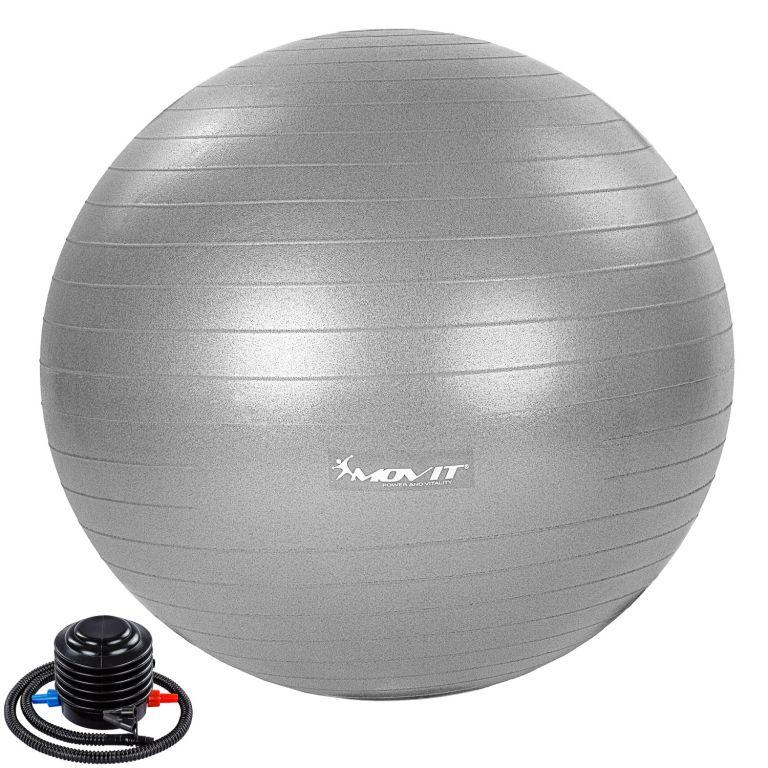 MOVIT Gymnastický míč s nožní pumpou, 65 cm, šedý