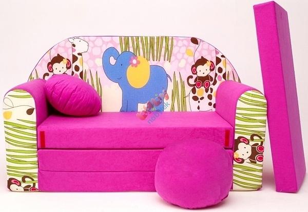 Rozkládací dětská pohovka Nellys Safari - Růžová