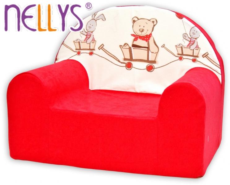 Dětské křesílko/pohovečka Nellys ® - Míša a zajíček, červené