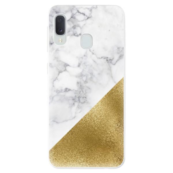 Odolné silikonové pouzdro iSaprio - Gold and WH Marble - Samsung Galaxy A20e