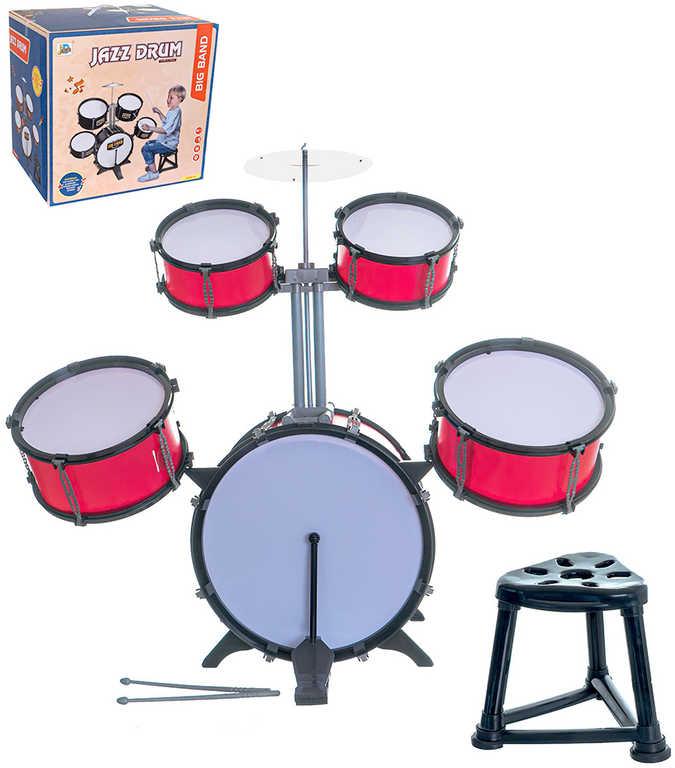 Dětská bicí souprava bubny set 5ks se stoličkou plast v krabici