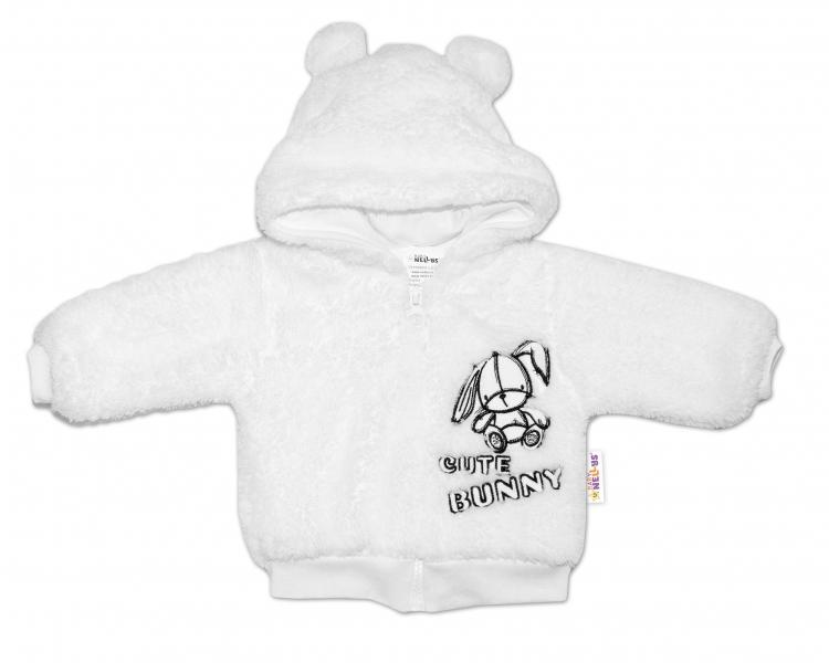 Baby Nellys Kojenecká chlupáčková bundička s kapucí Cute Bunny - bílá, vel.