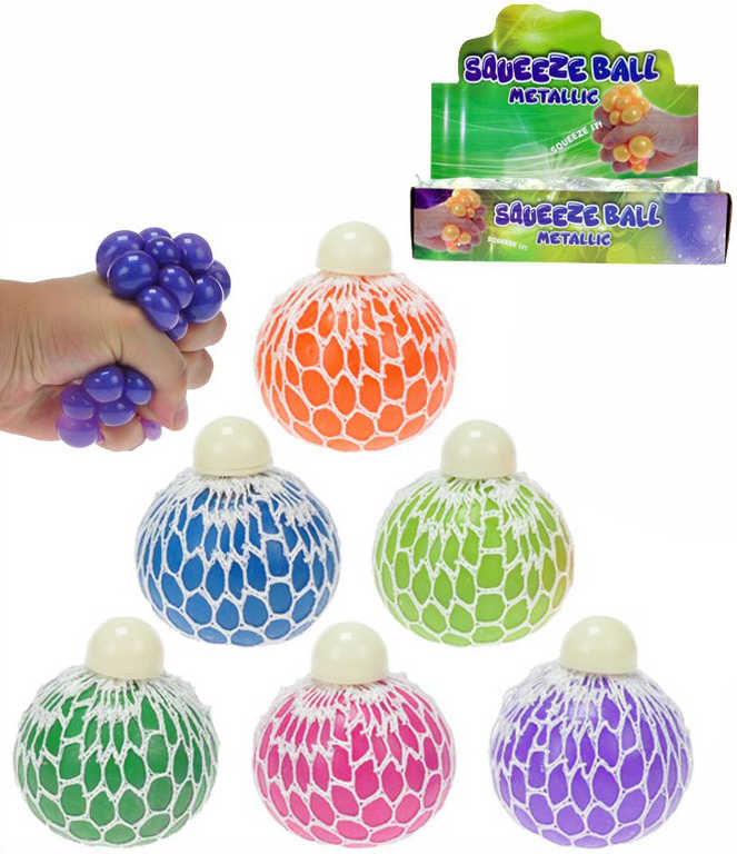 Míček síťkový strečový metalický s glitry 6cm antistresový s bublinami - 6 barev