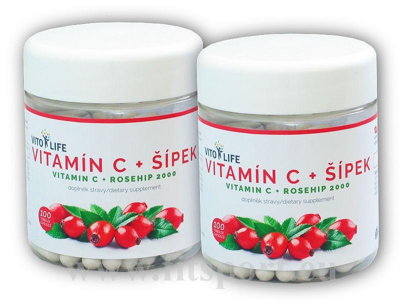 2x Vitamín C + šípek 100 kapslí