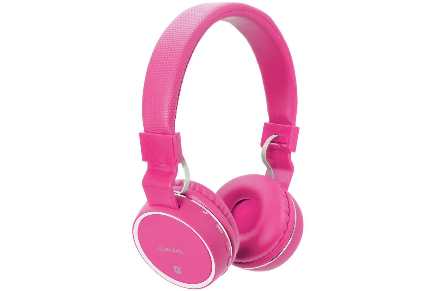 AV:link PBH-10 bezdrátová Bluetooth SD sluchátka, růžová