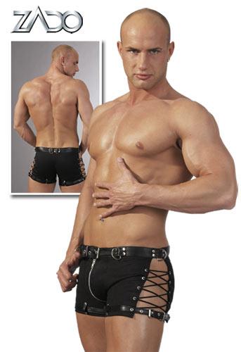 Pánské boxerky se zipem a koženým páskem (S, M)