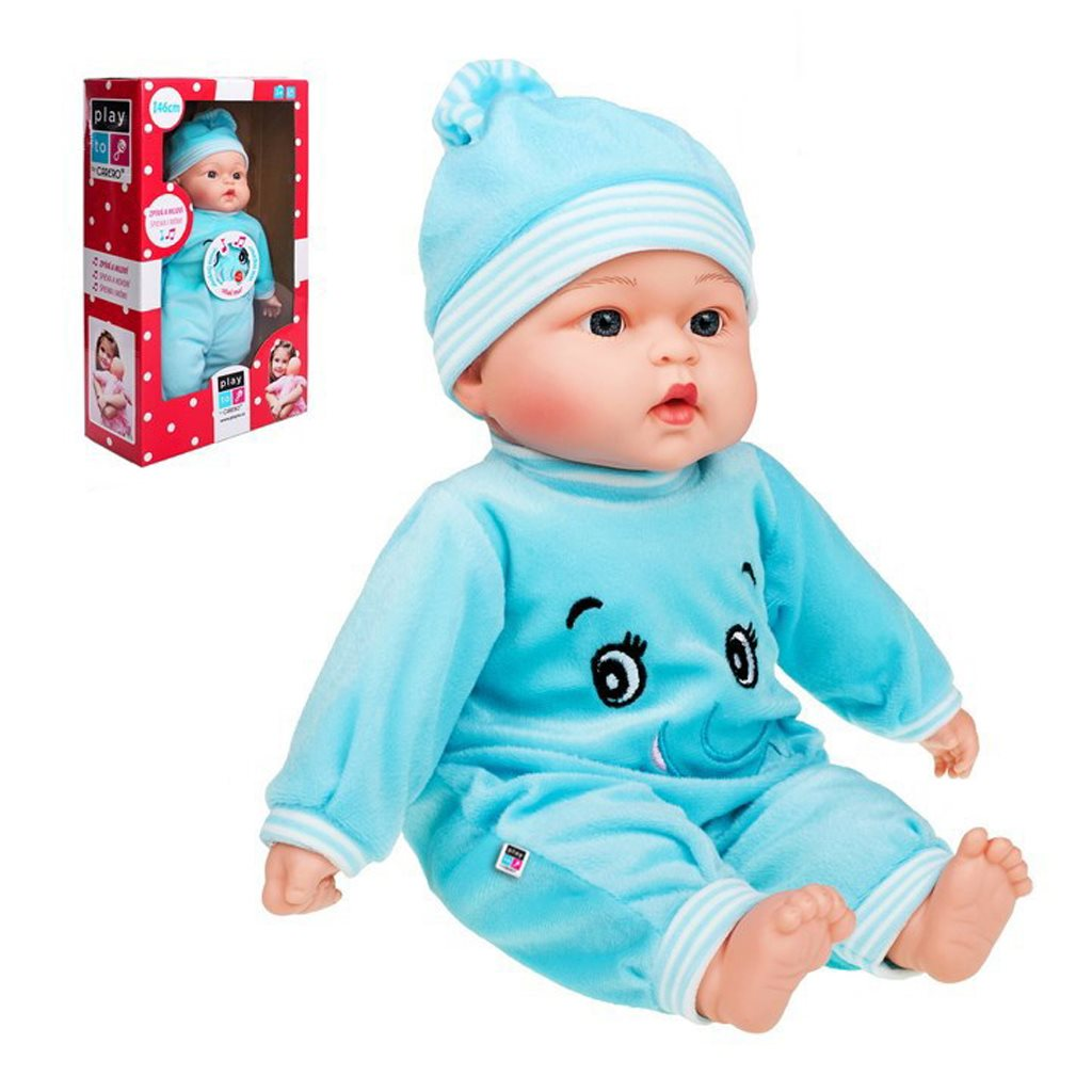 Česky mluvící a zpívající dětská panenka PlayTo - Maruška 46 cm - modrá