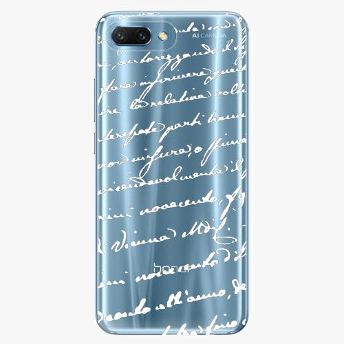 Silikonové pouzdro iSaprio - Handwriting 01 - white - Huawei Honor 10