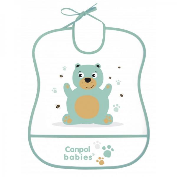 Plastový bryndák s kapsičkou Cute Animals - Medvídek