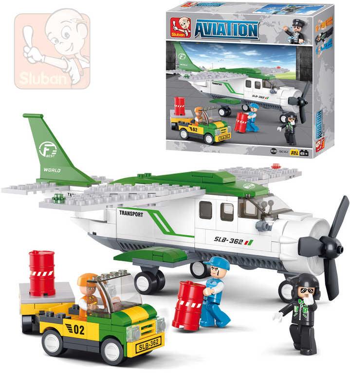 SLUBAN Stavebnice LETADLA přepravní letoun set 251 dílků + 3 figurky plast