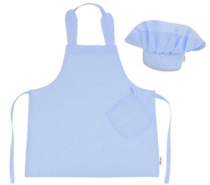 Kuchařská sada Junior MasterChef - zástěra + čepice + rukavice, modrá/bílé tečky