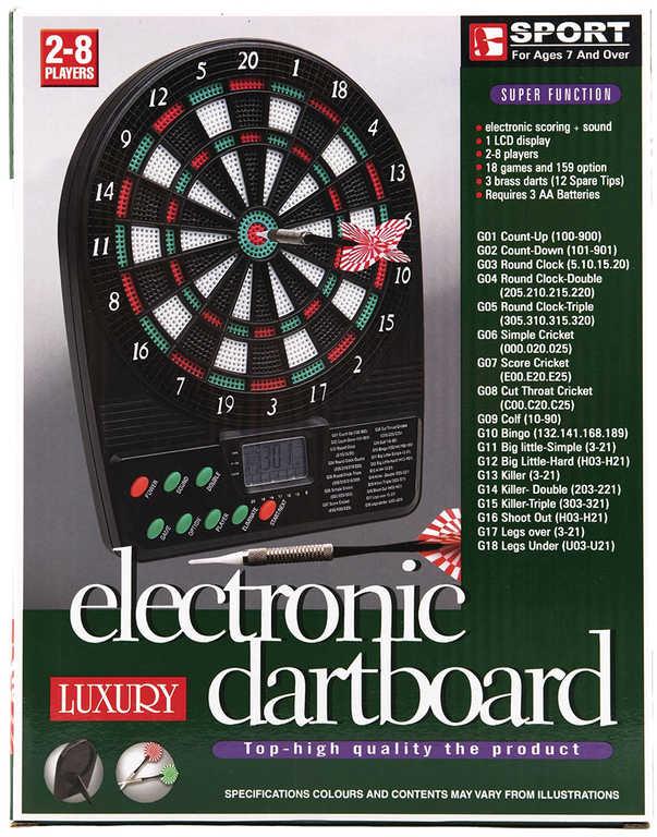 Hra šipky elektronický terč digitální 20x26cm + 3 šipky 18 her na baterie Zvuk