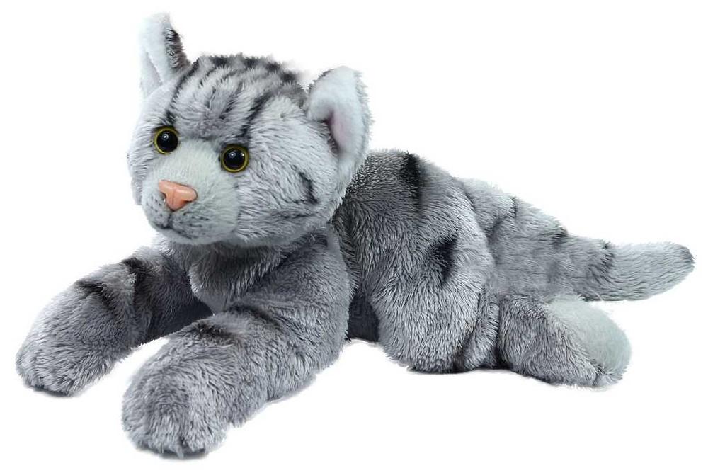 PLYŠ Kočka 18 cm šedá ležící exkluzivní kolekce