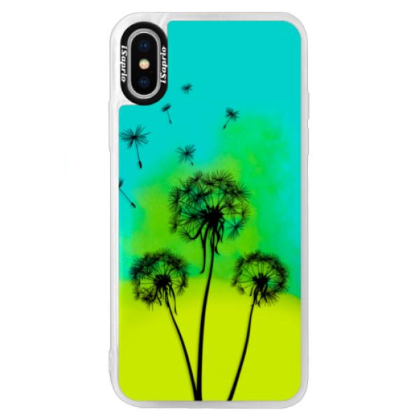 Neonové pouzdro Blue iSaprio - Three Dandelions - black - iPhone XS