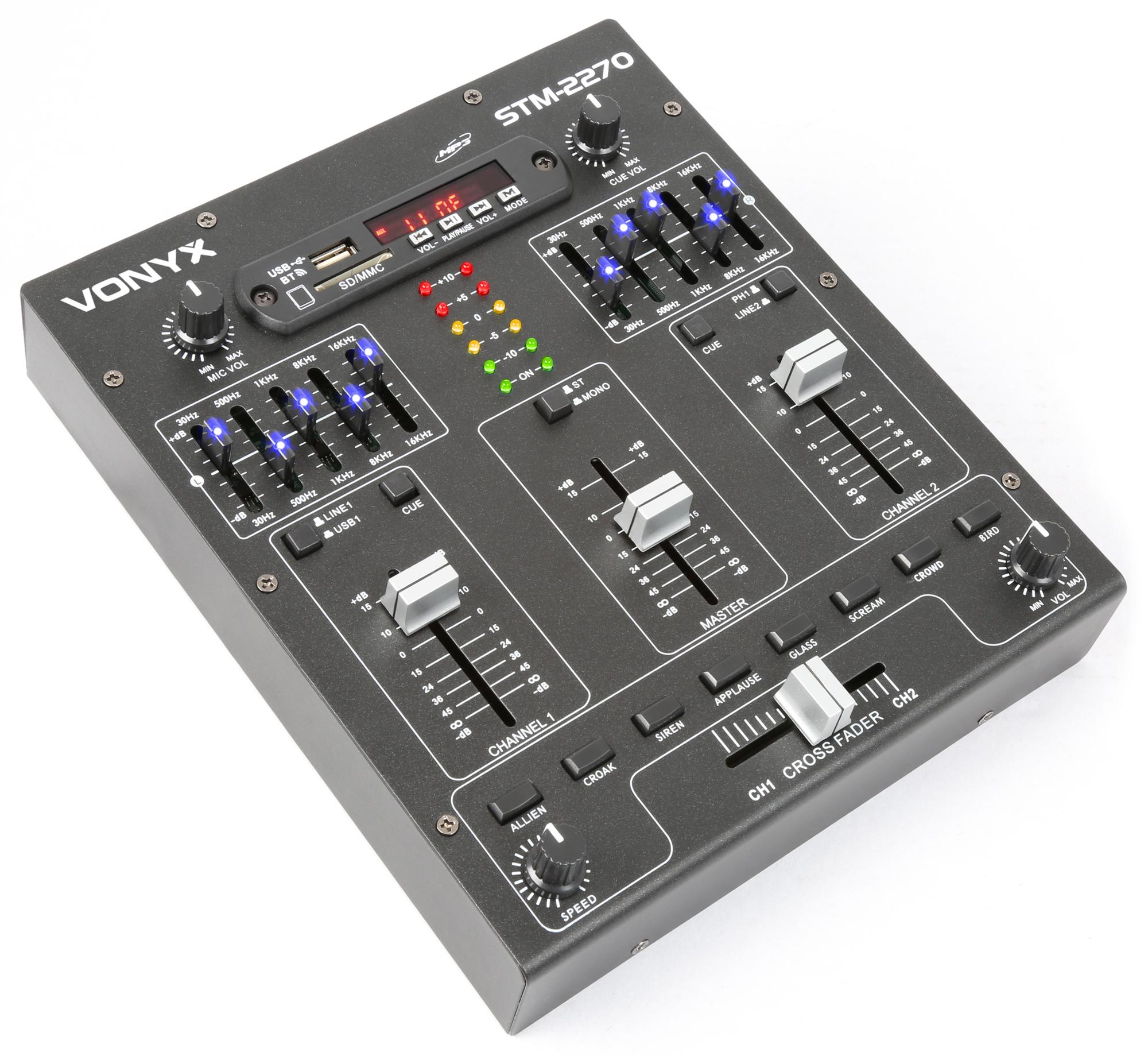 Vonyx STM-2270, 2-kanálový mixáží pult s MP3 přehrávačem a BT