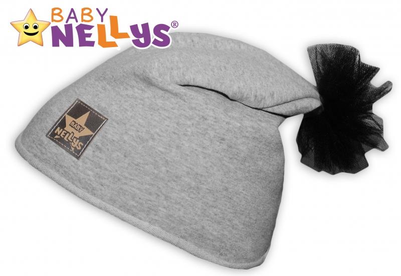 Bavlněná čepička Tutu květinka Baby Nellys ® - šedý melír, 48-52 - 48/50 čepičky obvod