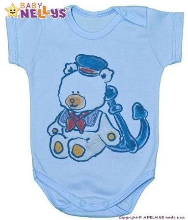 Body kr. rukáv Baby Nellys ® - Medvídek - námořník - modré - 74 (6-9m)