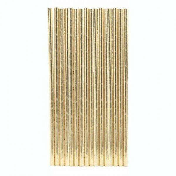 Papírová brčka - zlatá