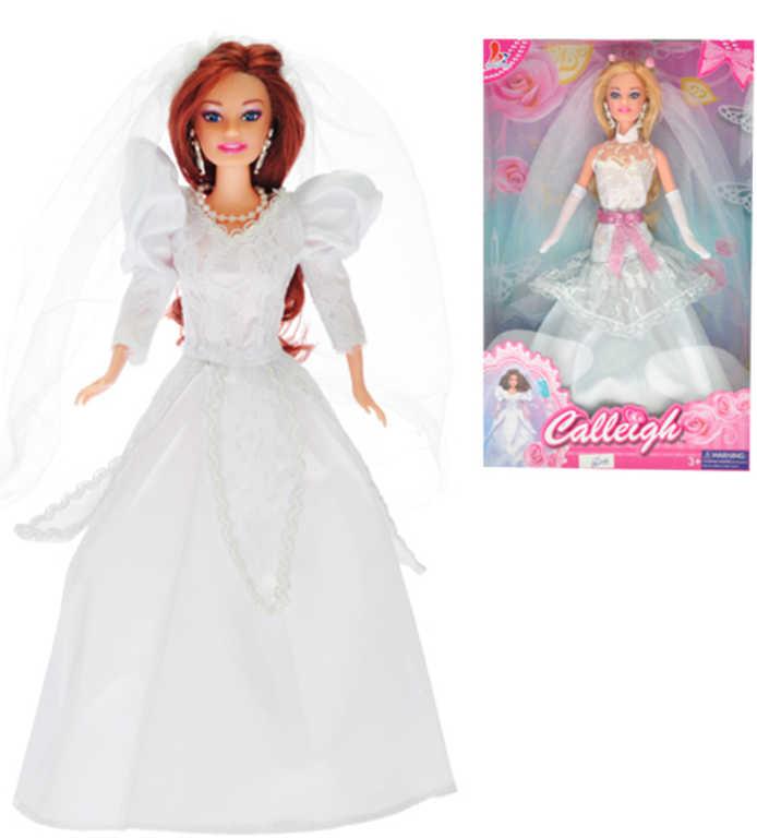 Panenka Calleigh nevěsta kloubová 29cm bílé svatební šaty 2 druhy v krabičce