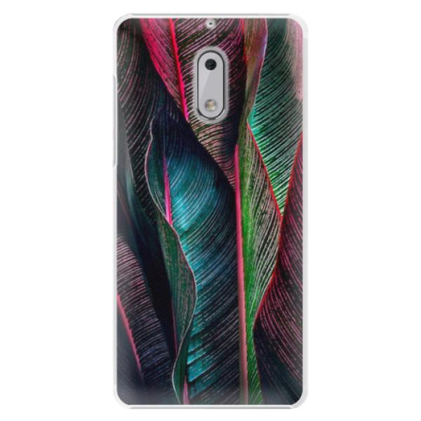 Plastové pouzdro iSaprio - Black Leaves - Nokia 6