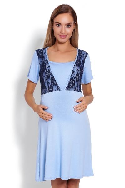 Těhotenská, kojící noční košile s krajkou, kr. rukáv