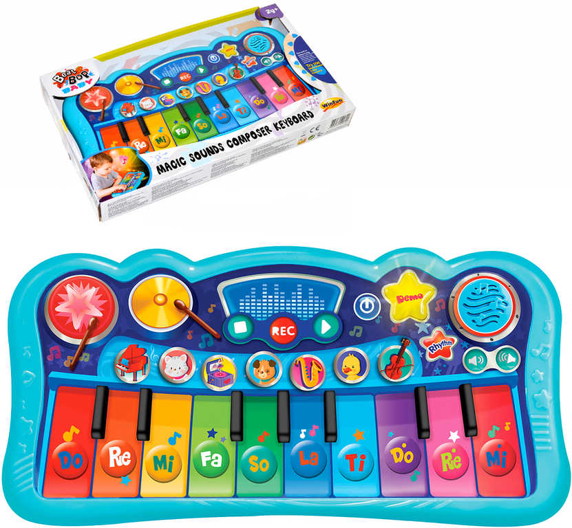 Piano dětské baby elektronické klávesy 33cm na baterie REC funkce nahrávání