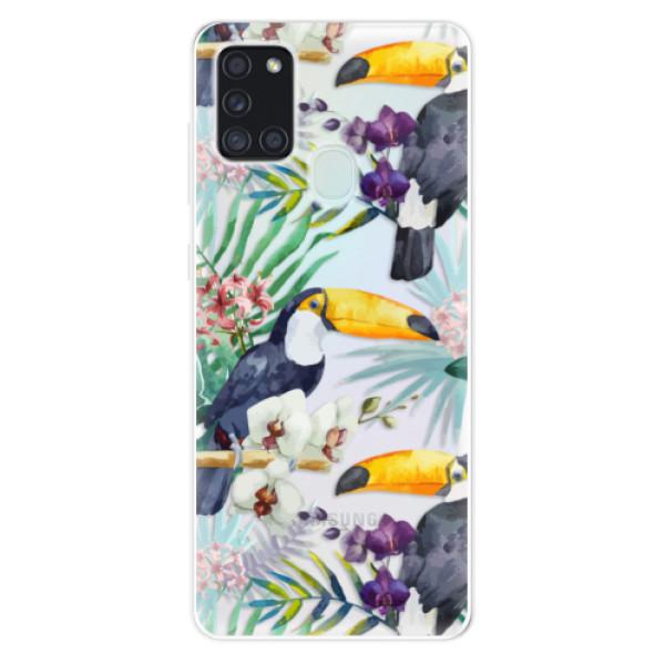 Odolné silikonové pouzdro iSaprio - Tucan Pattern 01 - Samsung Galaxy A21s