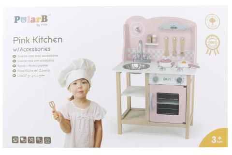 Dřevěná kuchyňka růžová