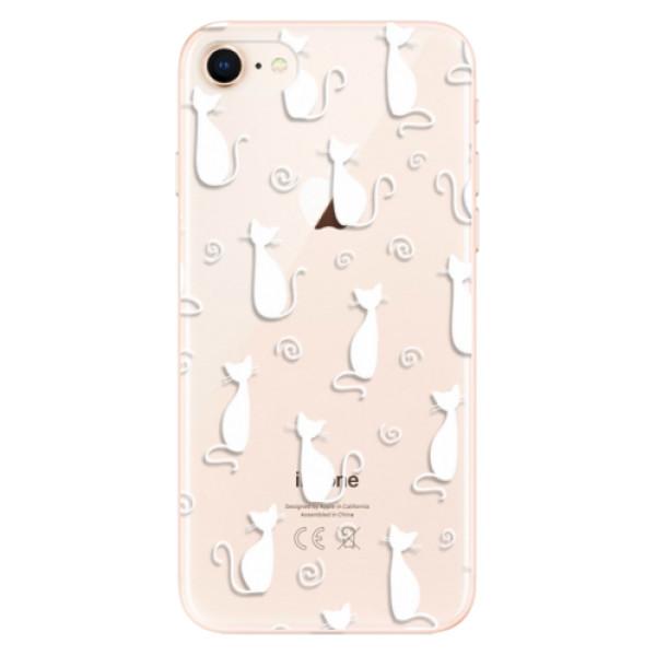 Odolné silikonové pouzdro iSaprio - Cat pattern 05 - white - iPhone 8