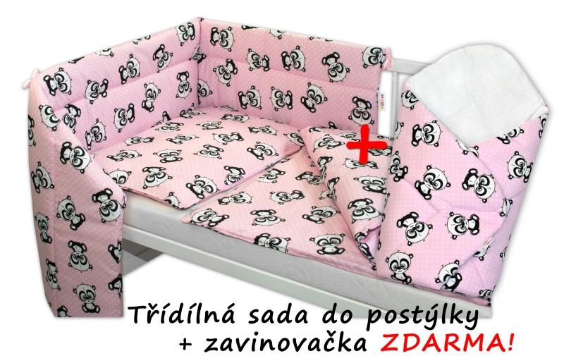 3-dílná sada mantinel s povlečením 135x100 + zavinovačka zdarma - Baby Panda, růžová - 135