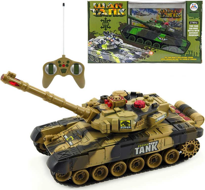 RC Tank T-80 na vysílačku 25cm na baterie plast 2 barvy Světlo Zvuk