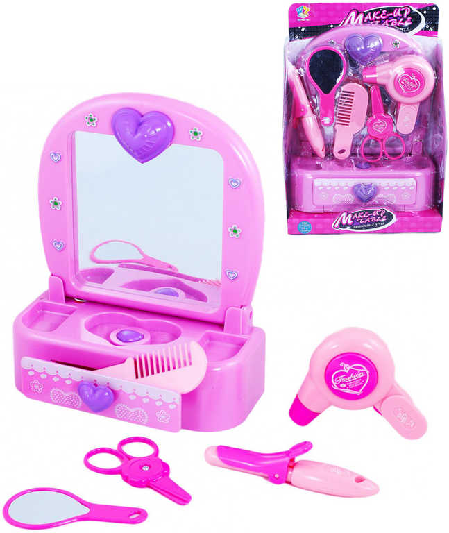 Stolek dětský kosmetický kadeřnický set se zrcátkem a doplňky na baterie Světlo Zvuk plast