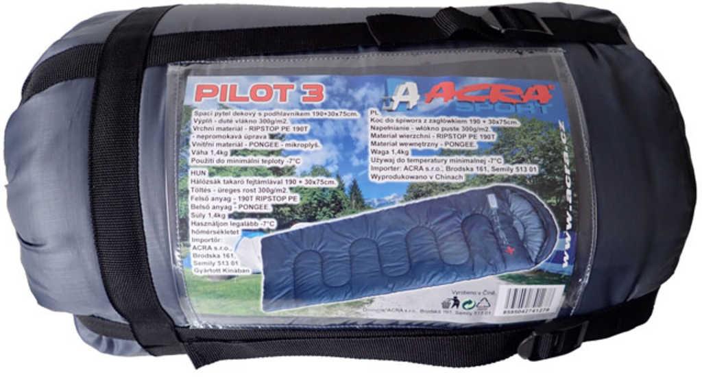 ACRA Spací pytel dekový Brother Pilot 3 s podhlavníkem šedý