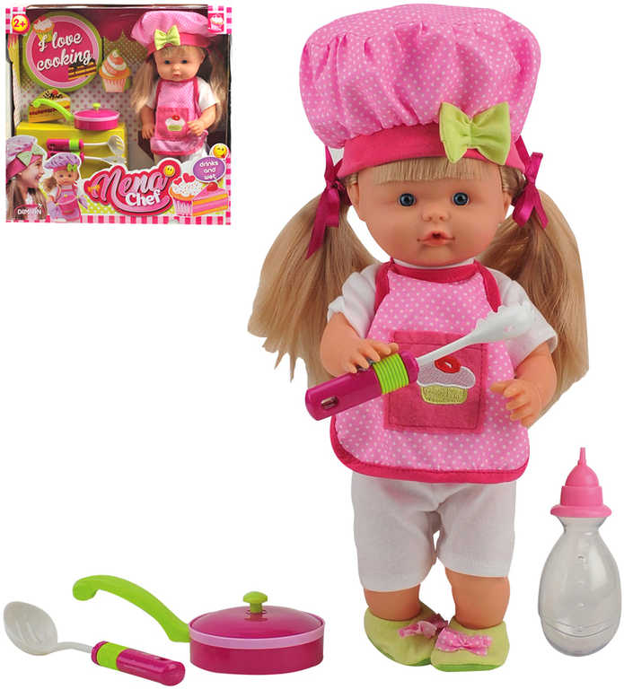 Panenka Nena kuchařka 36cm mluví 50 slov CZ na baterie set s nádobím a doplňky