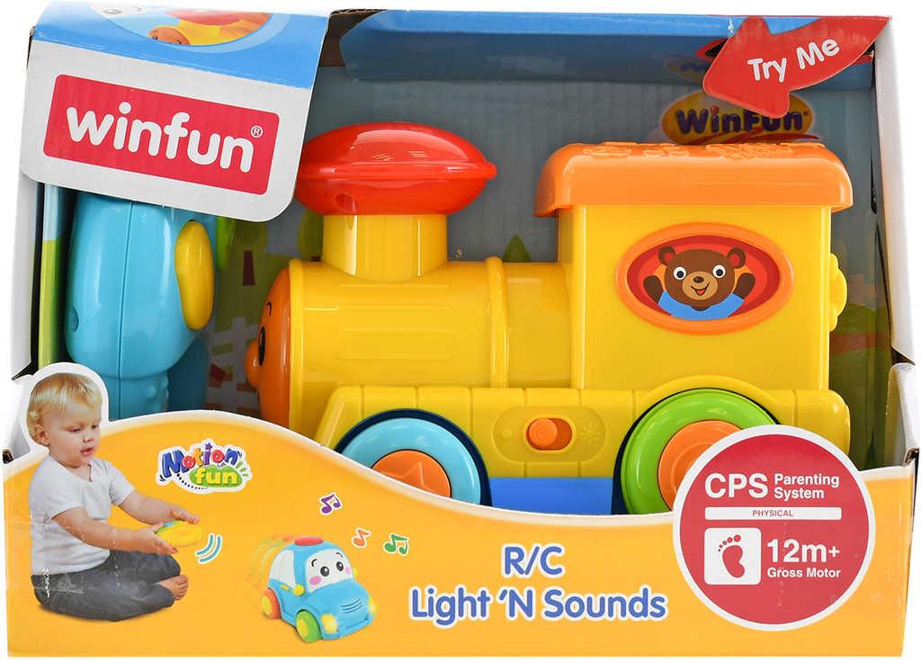 IR/C Baby vláček veselý 14cm na vysílačku na baterie Světlo Zvuk