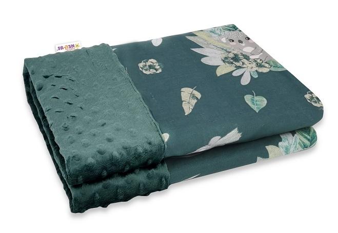 baby-nellys-bavlnena-deka-s-minky-100x75cm-tropical-koala-zelena