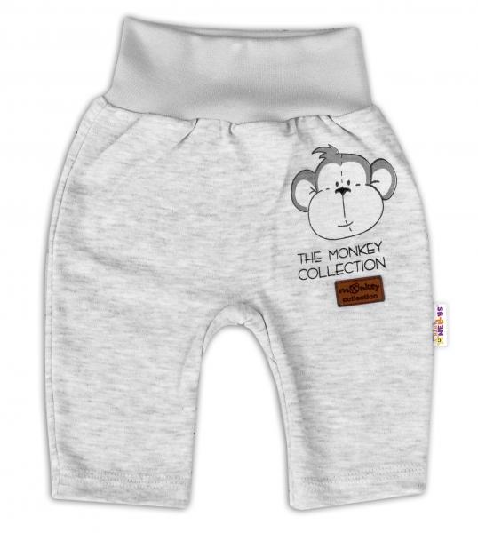 Baby Nellys Bavlněné tepláčky Monkey - sv. šedý