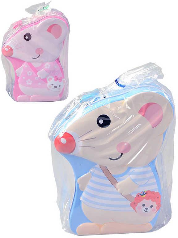 Pokladnička plechová kasička myška set se zámkem a 2 klíčky 2 druhy v sáčku
