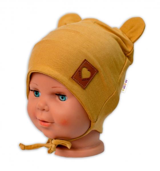 Baby Nellys Bavlněná dvouvrstvá čepice s oušky na zavazování TEDDY