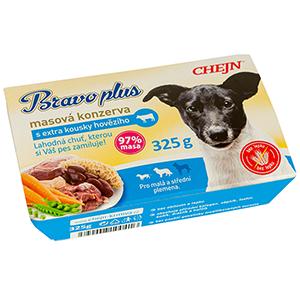 BRAVO plus s hovězím vanička pro psy 325 g