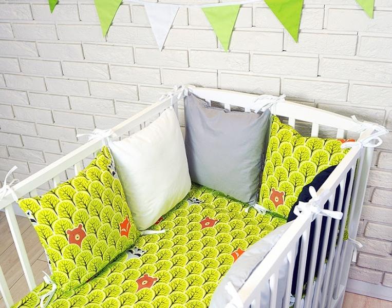 baby-nellys-polstarkovy-mantinel-s-povlecenim-lesik-zelena-bila-seda-120x90