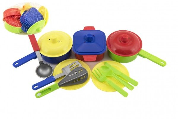 Sada nádobí s doplňky plast - mix barev v síťce