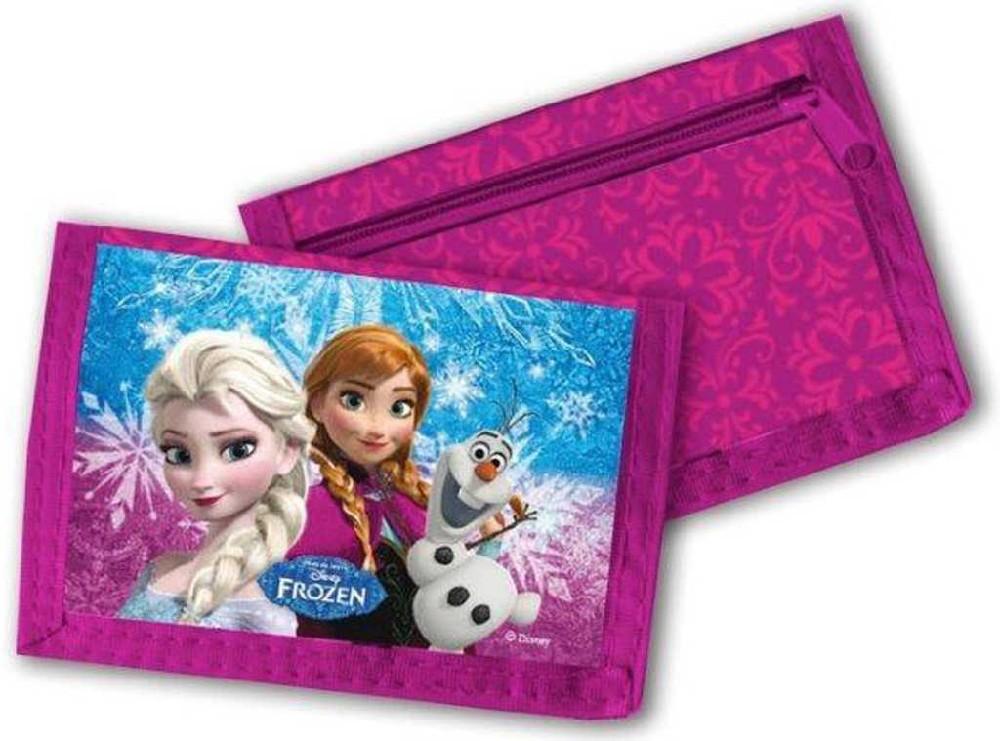 Peněženka dětská 13x8cm Frozen (Ledové Království) na suchý zip růžová